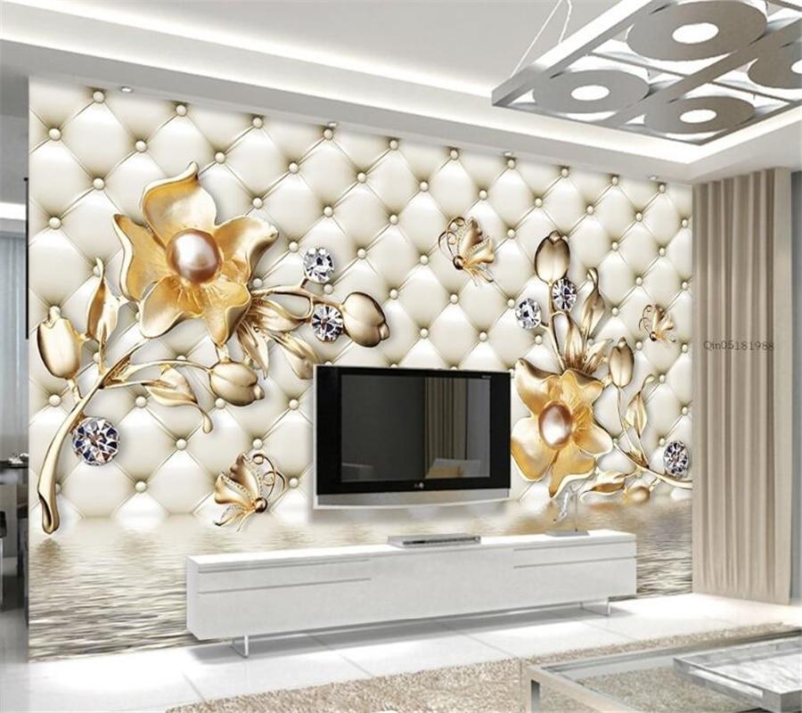 Beibehang Custom wallpaper 3d luxury soft case gold flower water reflection pen living room bedroom TV background 3d wallpaper