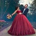Borgonha longo Vestido de Noite vestido de Baile Lace Top Vestido De Novia Casamento Até O Chão vestido de noivado 2017
