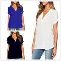 Muture new women's lady deep V neck short sleeve chiffon Tee Tops shirt