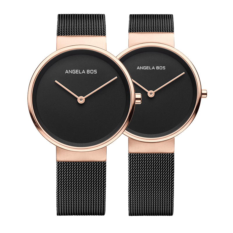 2017 Top Brand BOS Watches Men Quartz-watch Ultra Thin Simple Couple Watch Women Stainless Steel Mesh Strap Ultra Thin Clock carnival iw authentic ladies watch quartz watch steel mesh with noble women s watch waterproof ultra thin simple women s watch