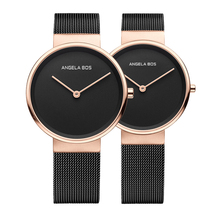 2017 Top Brand BOS Watches Men Quartz-watch Ultra Thin Simple Couple Watch Women Stainless Steel Mesh Strap Ultra Thin Clock