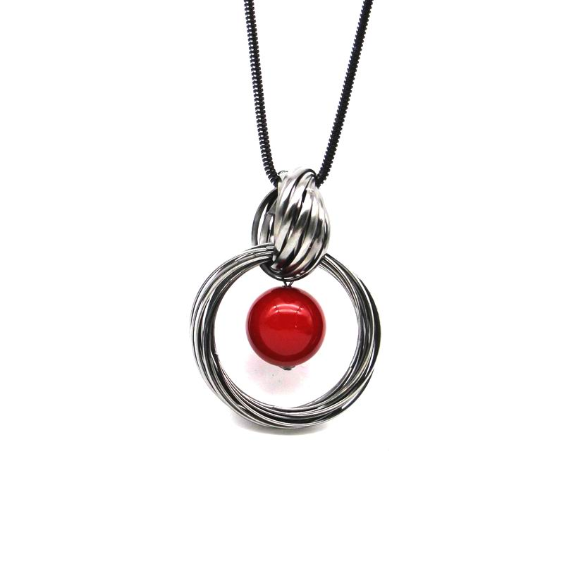 New circles simulated pearl ball pendant long necklace