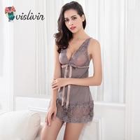 Vislivin 2018 New Lace Sexy Sleep Dress Women G string Underwear Lady Nightdress V Neck Style Two Pieces Sleepwear For Bath