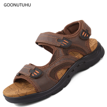 Genuine leather beech sandals men summer platform shoes fashion flat for classic design mens casual big size