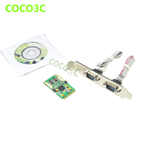 For Intel Min ITX Mini PCIe 2 COM Ports Card XR17V352 Mini PCI Express 2 Serial