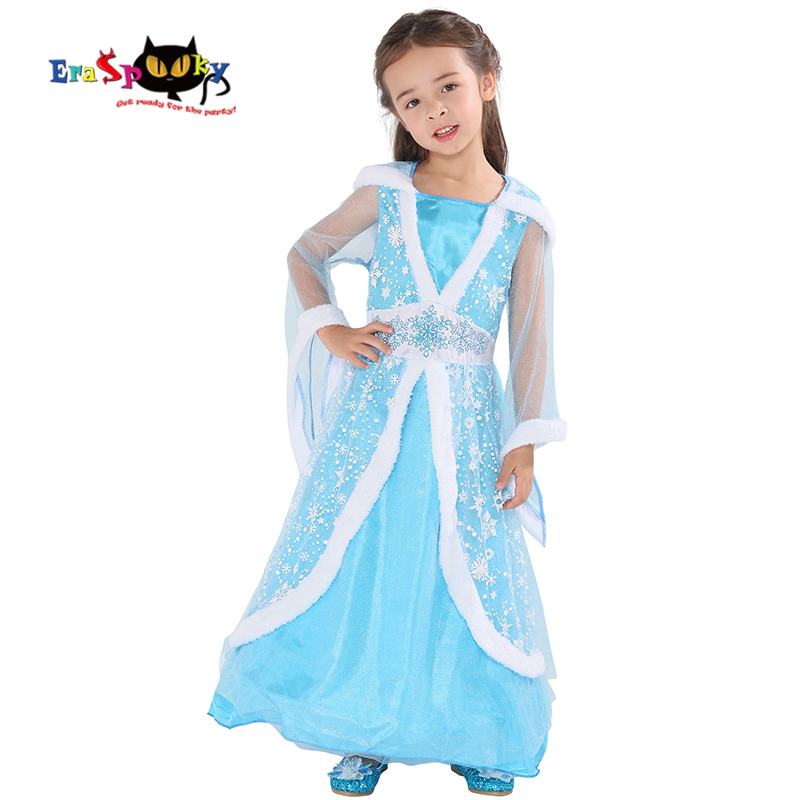 Kids Costumes & Accessories Beautiful Eraspooky New Ice Blue Winter Princess Dress Girls Halloween Costume Kids Elsa Snowflake Hoodie Dress Chiffon Fairytale Cosplay