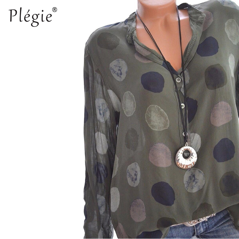 Plegie Womens Tops And Blouses 2018 Women Spring Blusas Shirt Dot Printed Long Sleeves Office Lady Blouse Shirts Blusa Plus Size 3