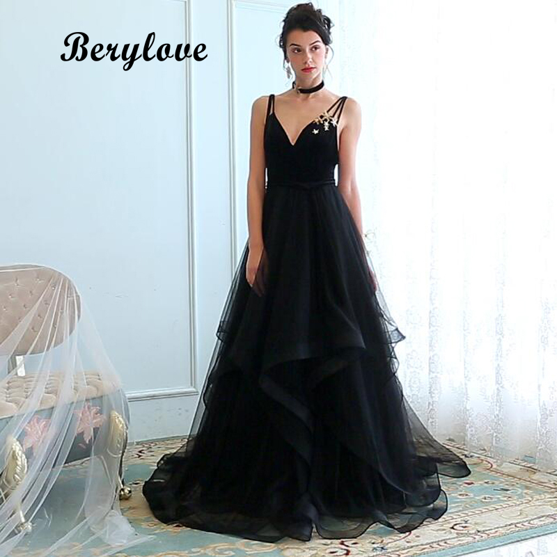 Berylove Long Black Prom Dresses 2018 V Neck Spaghetti Straps