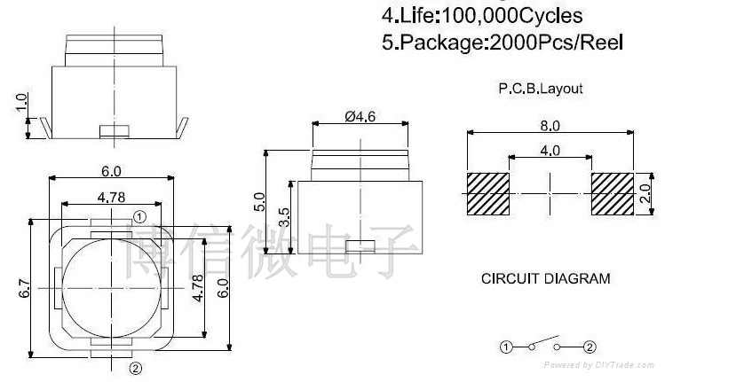 10PCS 6*6*5MM SMD Silent push button switch microswitch Tact Switch