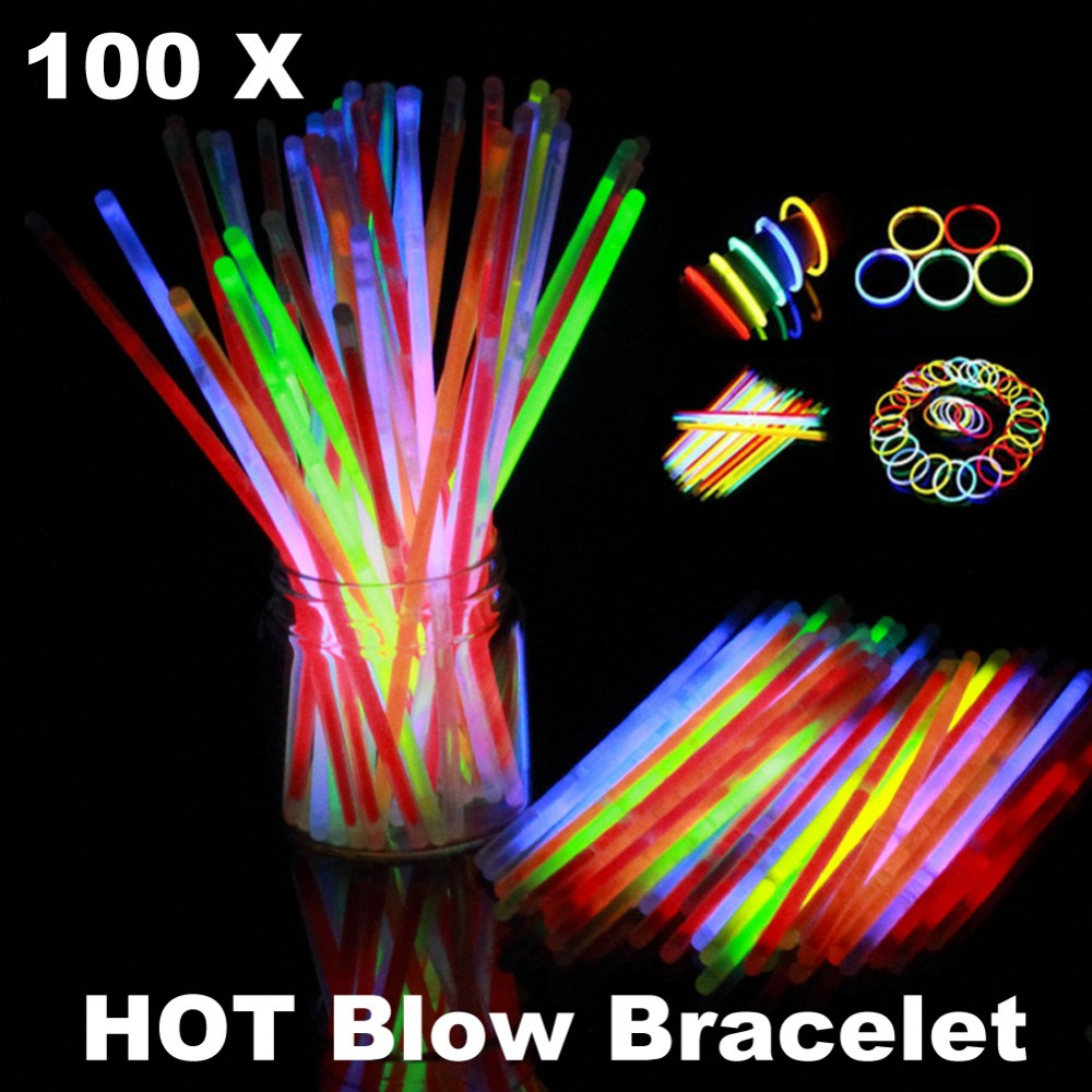 100PCS Glow Sticks Luminous Toy Glow In The Dark Toy Party DIY Headband Glasses Bracelets Necklaces Festival Rally Concert glow in the dark focus toy plastic fidget spinner