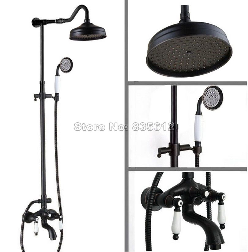 Black Oil Rubbed Bronze Bathroom Rain Shower Faucet Set with Ceramic Handheld Shower + Ceramic Handles Tub Mixer Taps Wrs683