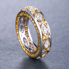 Huitan New Come Ring Band For Girl Two-Tone Fashion Wedding Engagement Women Infinity Jewelry With Size 6-10