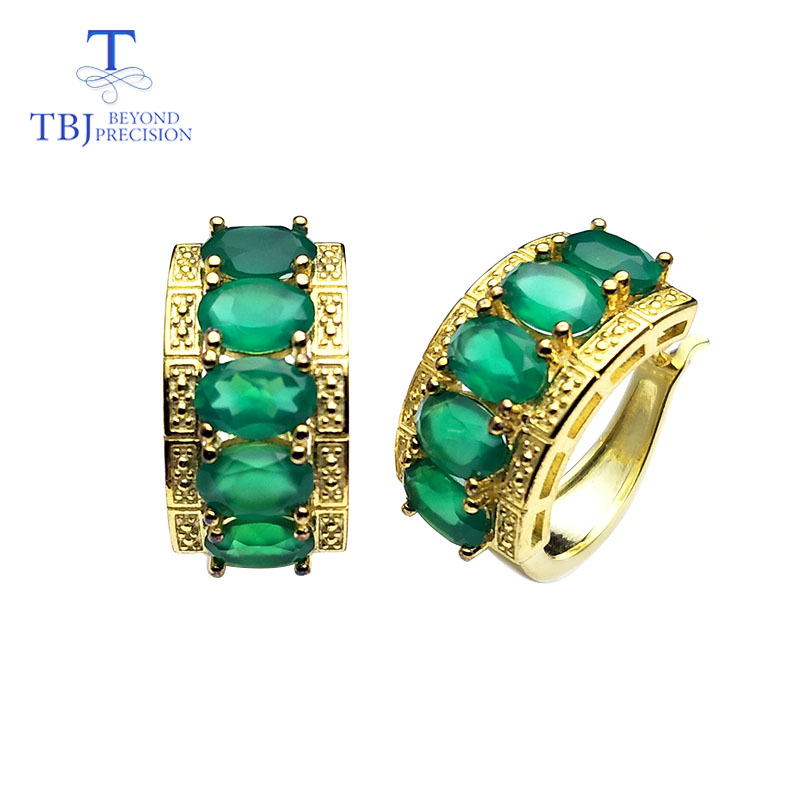 TBJ Clasp earring with natural green agate earring 925 sterling silver fine jewelry elegant design for