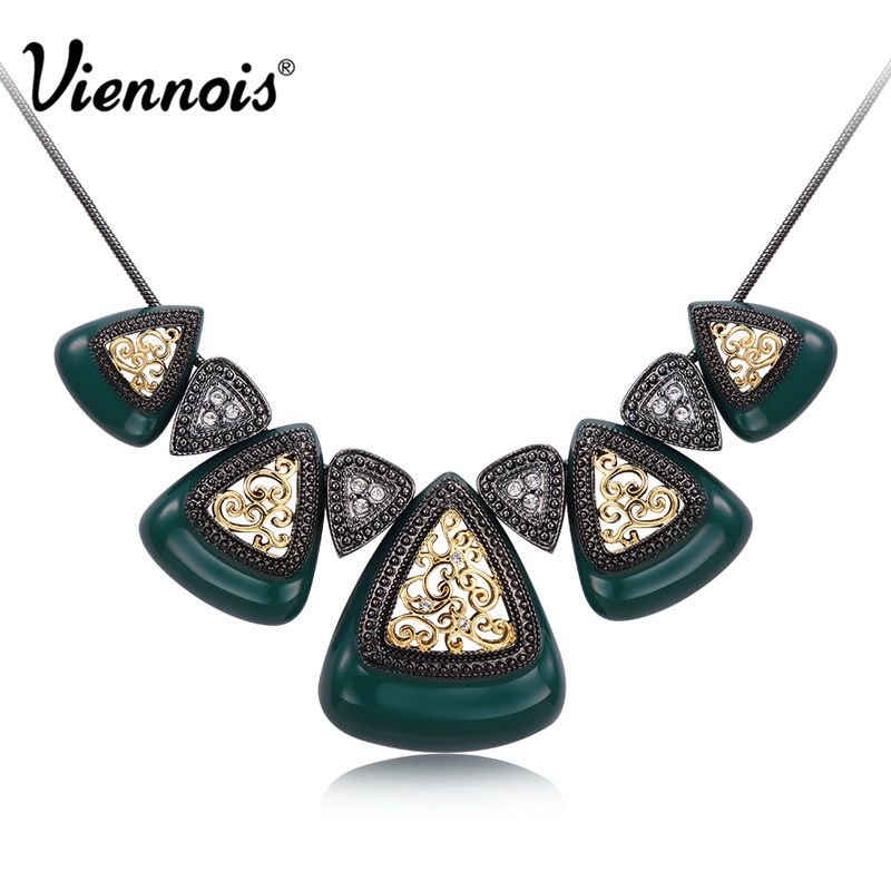 Viennois Retro Silver/Rose Gold Color Triangular Chain Necklaces for Women Rhinestone Black/White Enamel Female Vintage Necklace
