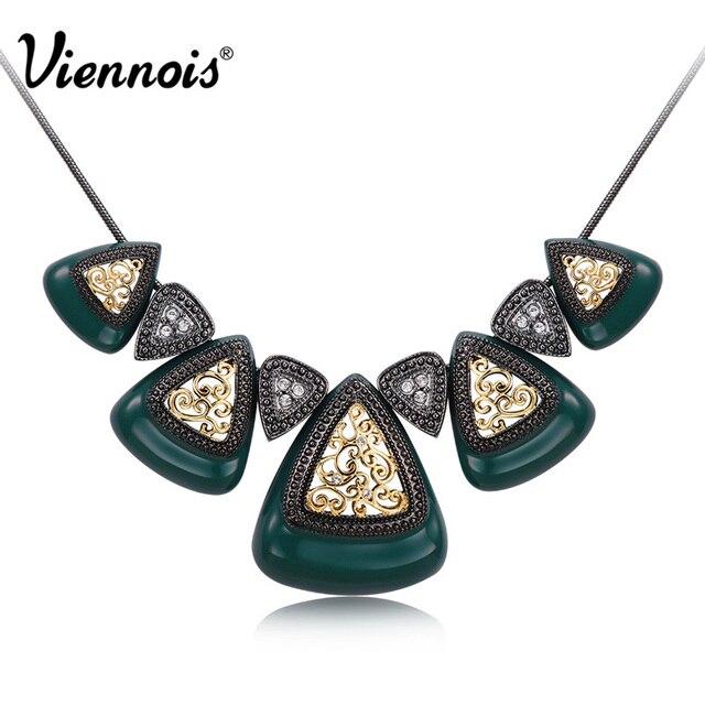 Viennois мода ювелирные изделия серебряная роза позолоченные треугольная ожерелья шкентеля австрийский горный хрусталь зеленый черный белый цвет