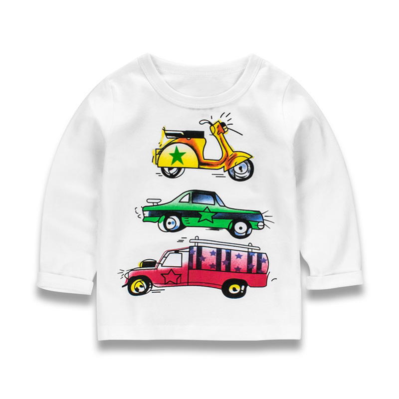 Kids Cartoon Car printing T-shirt Spring Autumn Long Sleeve Boys T shirts Stripe Boy Shirt Tops Children's Clothing 2-9T