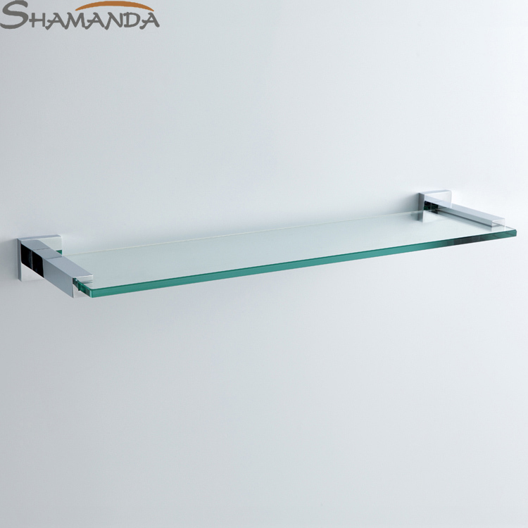 Limited Free Shipping Bathroom Accessories Products Solid Chrome Single Shelf with Tempered Glass cosmetics Shelf-94022 direct selling hot sale bolt inserting type free shipping bathroom accessories solid chrome double shelf wholesale 84012