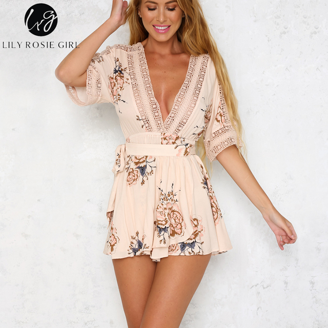 Lily Rosie Girl Boho White Floral Lace Deep V Neck Women Playsuit Backless Hollow Out Summer Beach Short Romper Jumpsuit Overall