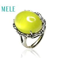 Натуральный желтый Пренит 925 Серебро Кольца для женщин и парня, 15X20 мм 20ct Большой овальный камень, bone узор себе ювелирные изделия