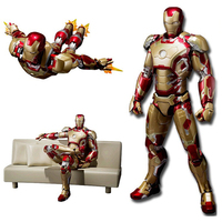 2 Colors Marvel Avengers Iron Man with Sofa Infinity War Cartoon Toy PVC Action Figure Collectible Models Toys Gifts For Kids #E