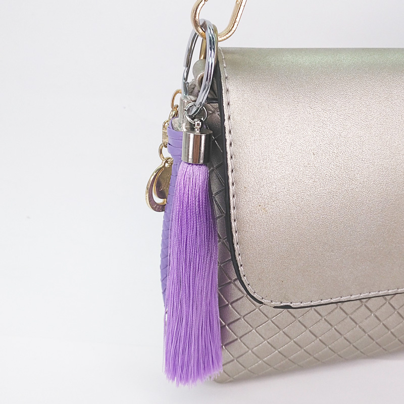 Simple Style Braided Rope Keyring Tassels PU Keychains for Girls Handbag Keys Pendants Decoration Fashion Poms Charms Mom Gifts