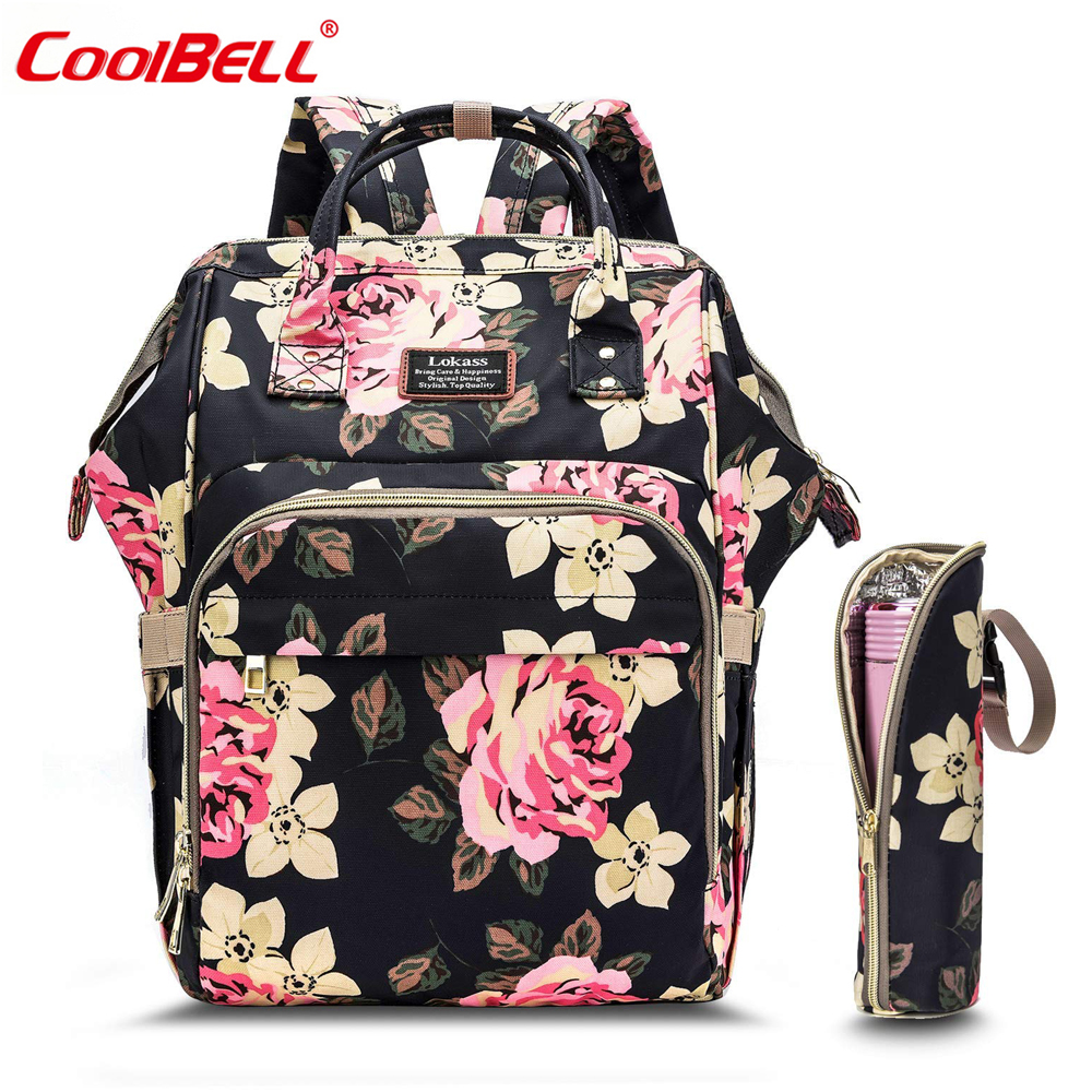 Fashion Baby Diaper Bag Backpack Floral Waterproof Multi-Functional Travel Nappy Bag Include Changing And Pad Insulated Pouch