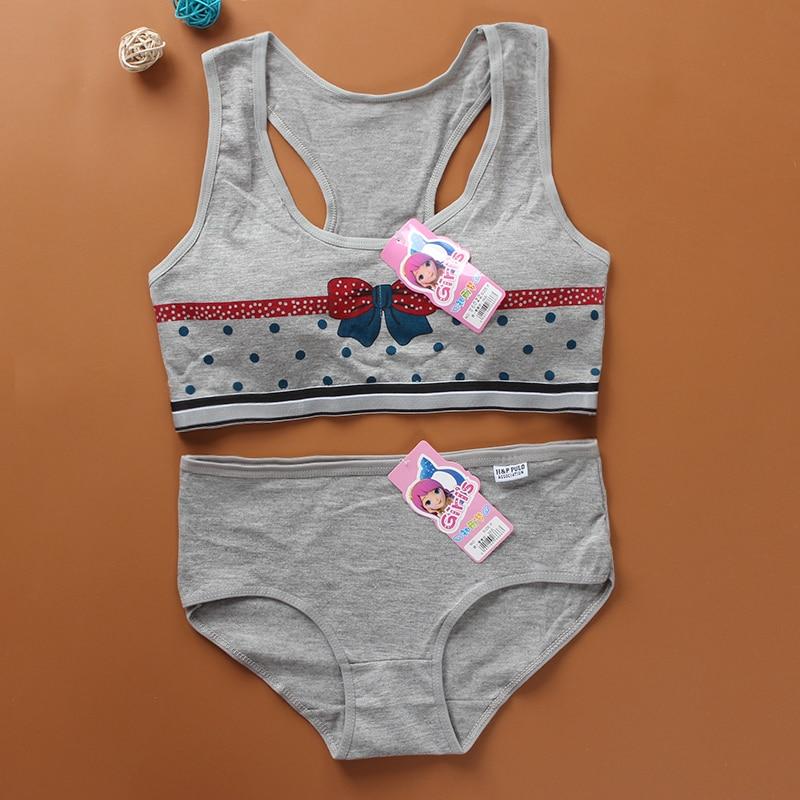 Pantie And Bra  Girls Underwear Vest Development Teens Suit Pure Cotton Vest Double Layer Hipster Puberty  Little Girl's 1 Set