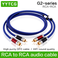YYTCG G2 RCA Cable HiFi 99.9999% OCC 24K Gold Plated Plug Connector For DVD CD DAC Amplifier Audio