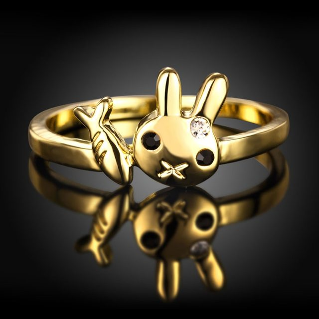 line Shop Gold Colour Cats can t eat fish Ring Design Cute