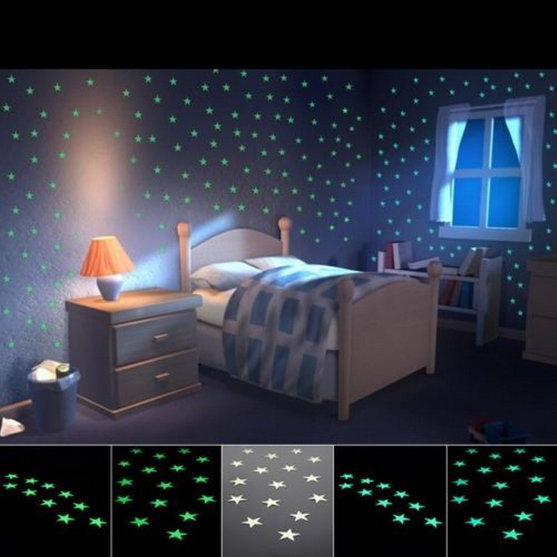 Glow Wall Stickers 100pcs Decal Baby Kids Bedroom Home Decor Color Stars Luminous for Home Party Wedding Decorations T1362P30