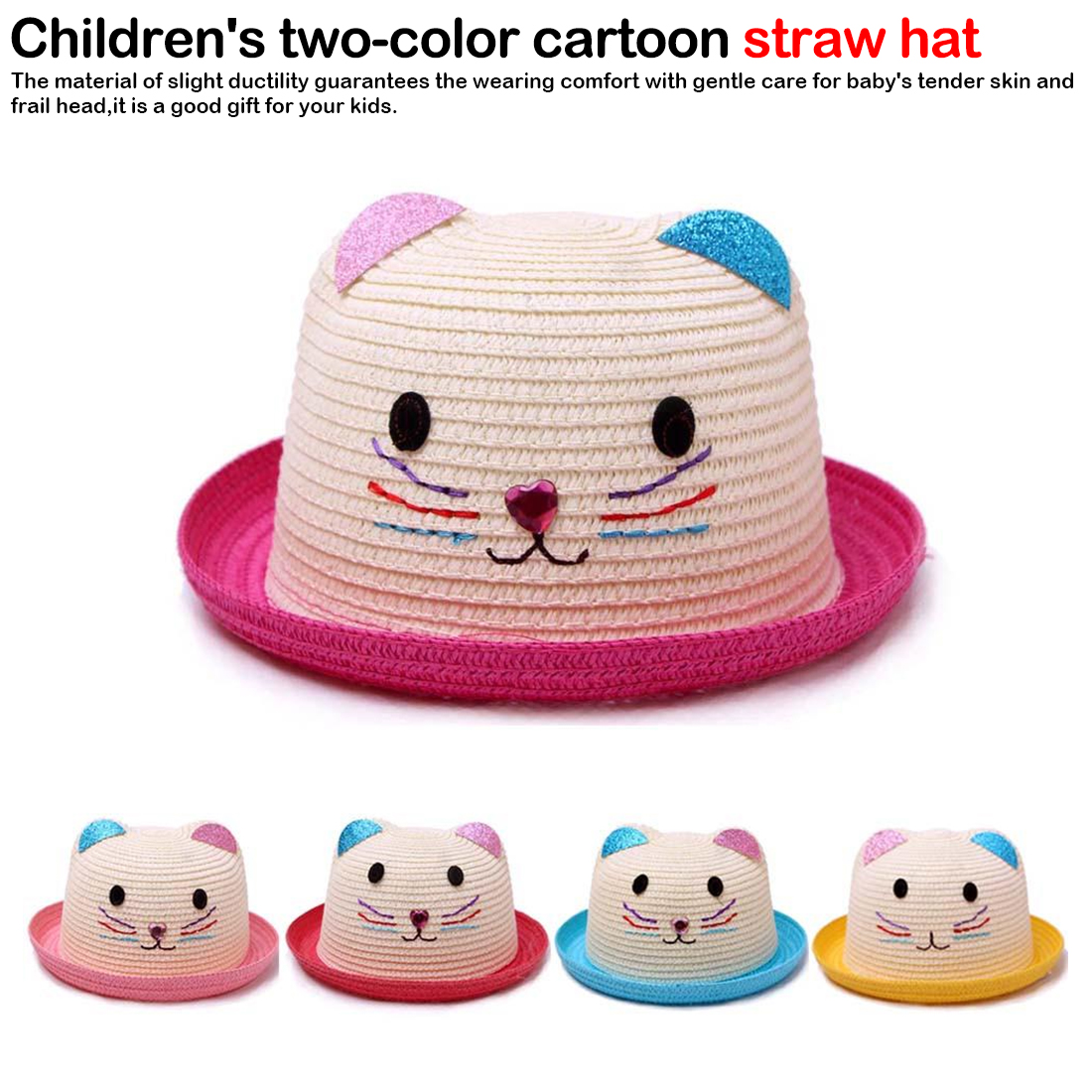 Children Straw Hat Cute Summer Ear Decoration Sun Hats for Kids Girls Boys Solid Floppy Beach Cap Photograph Hat in Hats Caps from Mother Kids
