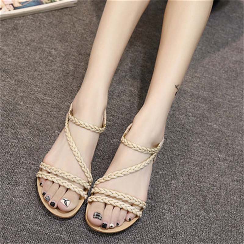 Plus Size Women Sandals Flats Summer Women's Sandals 2018 Casual Shoes For Woman European Rome Style Sandalias New Fashion capputine new summer sandals woman shoes 2017 fashion african casual sandals for ladies free shipping size 37 43 abs1115