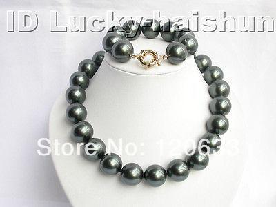 Bijoux mariée artisanat 16mm noir mer du sud coquille collier de perles 18