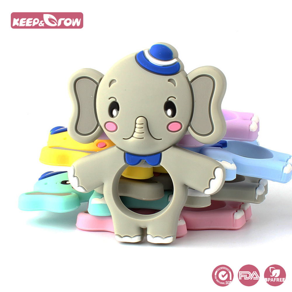 Keep&Grow 1pc Elephant Rodent Baby Silicone Teethers Food Grade Silicone Beads Baby Teething Necklace Products Pacifier Pendant