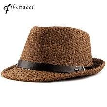 Fibonacci 2018 New Summer Belt Straw Fedoras Solid Color Fashion Manhattan Structured Gangster Jazz Hat Men Women