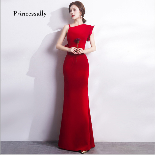 6d90929e9bc New Elegant Red Evening Dress Mermaid Sweet Formal Prom Party Banquet Gown  Vestido De Noiva Simples Women Long Dress Evening