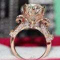 Удивительный Дизайн 18 К Розовое Золото Кольцо 4CT Большой Сертифицированных Moisanite Женский Обручальное Кольцо Бриллиант Чистого Золота Невесты Ювелирные Изделия