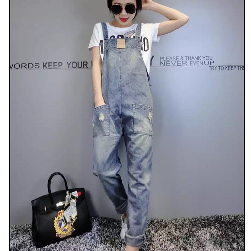 Denim Bib Female 2019 Spring And Summer Fashion New Loose Thin Large Size Hole Denim Bib Pants Nine Pants H00490 5