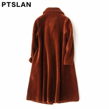Ptslan Women Sheep Fur Coat Fashion Women Wool Coat Long Sheep fur Beautiful Women's Coat
