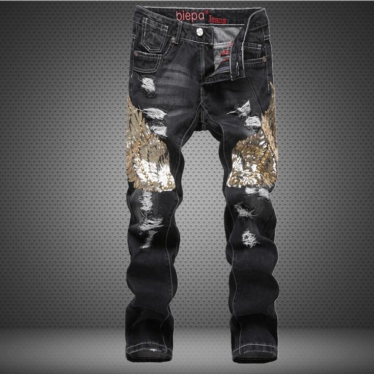 #2719 Sequined wing Patchwork Ripped jeans men Straight Hip hop jeans Mens biker jeans Motorcycle Distressed Printed jeans