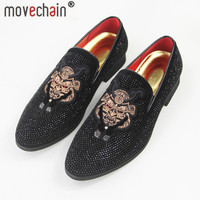 movechain Men's Luxury Suede Leather Loafers Mens Casual Rhinestone Rivets Embroidery Moccasins Shoes Party Driving Flats 2501