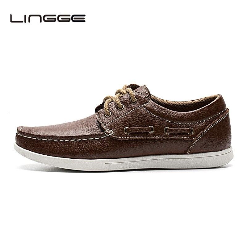Lingge Men 39 S Casual Shoes Design Lace Up Men Boat Shoes Fashion Genuine Leather Flats For Men