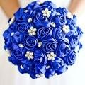 Perlas Azul real Nupcial Ramos de Flores Broche de Cristal Satén Hecho A Mano Flores de La Boda Ramos de Novia Artificial Ramos de Novia 2016