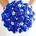 Royal Blue Pearls Bridal Brooch Bouquets Crystal Satin Wedding Bouquets Artificial Handmade Wedding Flowers Bride Bouquets 2016