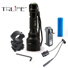 Linterna LED Flashlight  XML-T6 8000LM Tactical Flashlight  Aluminum Hunting Flash Light Torch Lamp +18650+Charger+Gun Mount