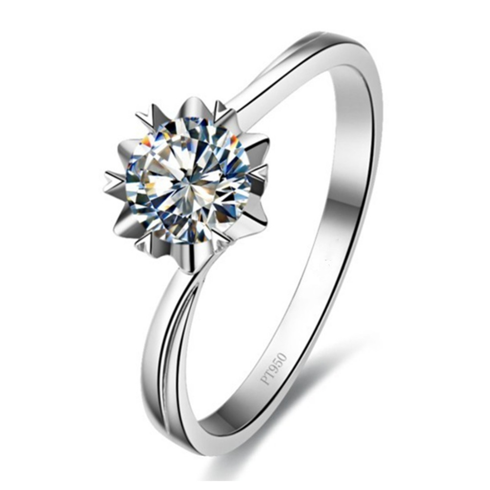Wholesale 1ct Snowflake Simulate Diamond Ring Sterling