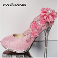 Hot Sale Gorgeous Wedding Bridal Womens Round Toe Slip On Rose Floral Rhinestone Crystal High Heel Pumps Party