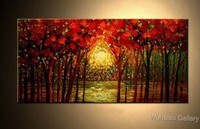 Christmas gift Abstract Art oil painting on canvas Contemporary Wall Art Forest