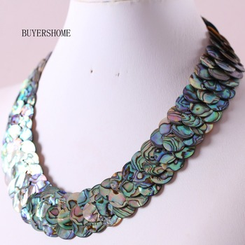 "Free Shipping New without tags Fashion Jewelry Blue Natural New Zealand Abalone Shell Necklace 20"" 1Pcs RE395"