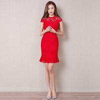 Traditional Chinese Antiques For Sale Modern Cheongsam Qipao Dress Lace Red Bride Qi Pao Vintage Vestido Oriental Collars